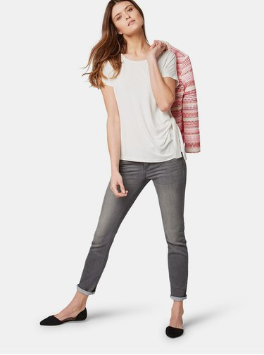 Krémové dámské tričko s uzlem Tom Tailor