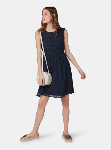 Rochie albastru inchis cu top din dantela Tom Tailor Denim