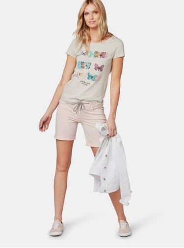 Béžové dámske pruhované tričko s potlačou Tom Tailor