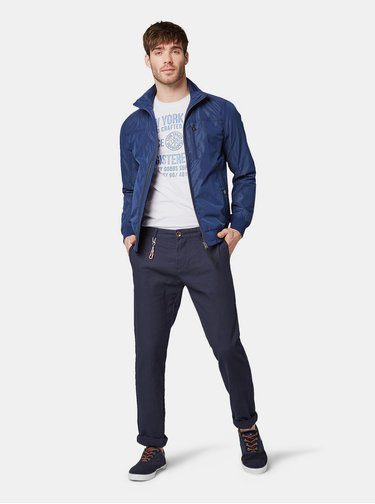 Pantaloni barbatesti albastru inchis regular fit chino din in cu carabine Tom Tailor