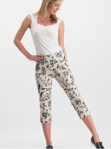 Pantaloni 3/4 crem cu model si talie inalta Blutsgeschwister Palatschinken Picknick