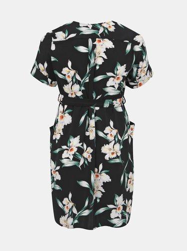 Čierne kvetované košeľové šaty Dorothy Perkins Curve