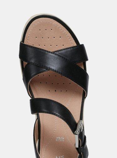 Čierne dámske kožené sandále Geox Lea