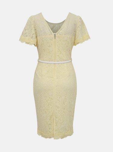 Světle žluté krajkové pouzdrové šaty s páskem Dorothy Perkins