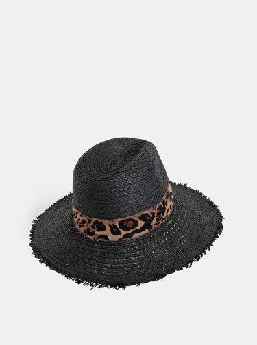 Černý klobouk se stuhou s leopardím vzorem Dorothy Perkins