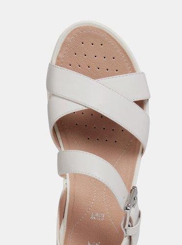 Světle šedé dámské kožené sandály Geox Lea