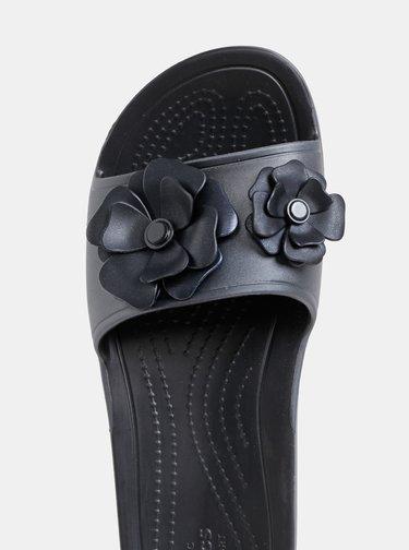 Papuci negri de dama cu aplicatie Crocs Sloane Vivid Blooms