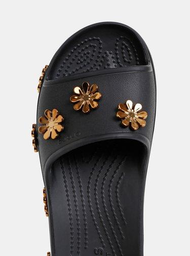 Černé dámské pantofle na platformě s ozdobnou aplikací Crocs Platform Metallic Blooms