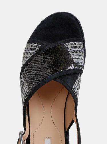 Černé dámské sandály s flitry Geox Kolleen