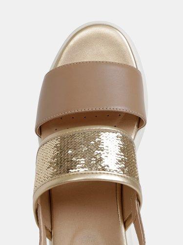 Béžové dámske sandále na platforme s flitrami Geox Wimbley