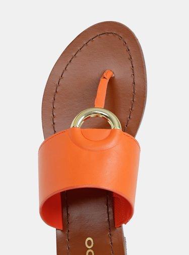 Oranžové dámske kožené žabky ALDO Ocericia