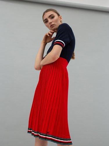 Červená plisovaná sukně Tommy Hilfiger Jessah