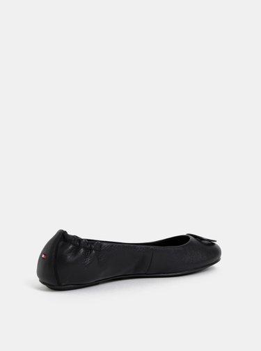 Černé dámské kožené baleríny Tommy Hilfiger