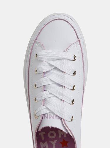 Biele dámske kožené tenisky na platforme Tommy Hilfiger