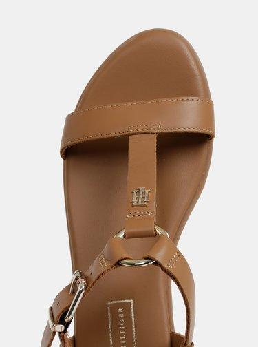 Hnedé dámske kožené sandálky Tommy Hilfiger