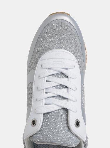Dámské tenisky ve stříbrné barvě se semišovými detaily Tommy Hilfiger