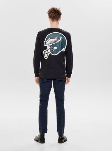 Bluza sport neagra cu imprimeu la spate ONLY & SONS Nfl