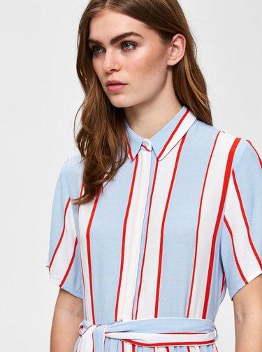 Bielo–modré košeľové pruhované midišaty Selected Femme Frory