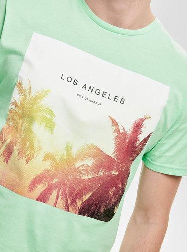 Tricou verde deschis cu imprimeu ONLY & SONS Lamani