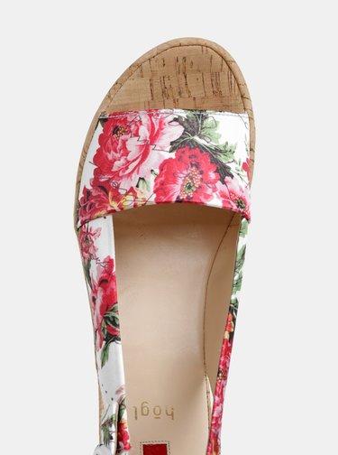 Bílé květované sandálky na klínku Högl Seaside
