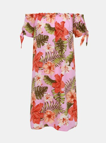 Růžové lněné květované šaty s odhalenými rameny VERO MODA Efie