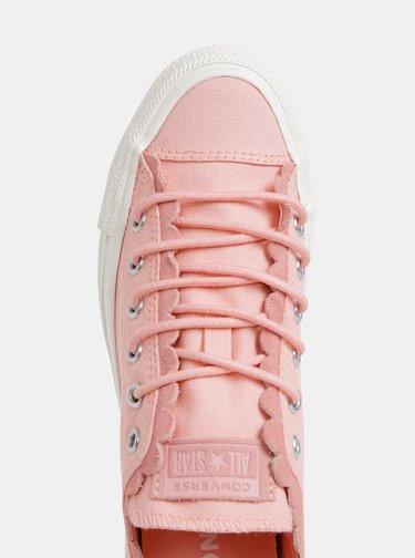 Rúžové dámske tenisky s detailmi v semišovej úprave Converse
