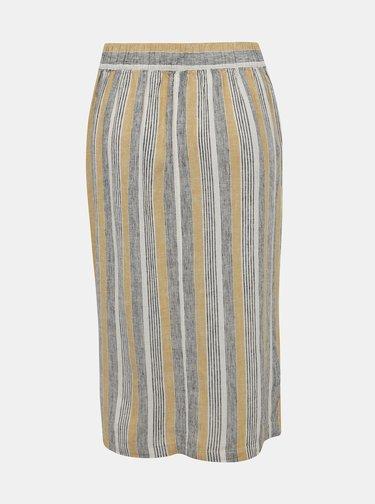 Krémovo-béžová pruhovaná ľanová sukňa M&Co