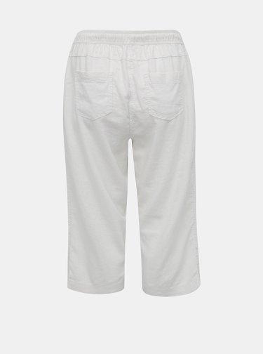 Biele dámske ľanové 3/4 nohavice M&Co Plus