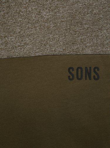 Khaki žíhané tričko ONLY & SONS Poam