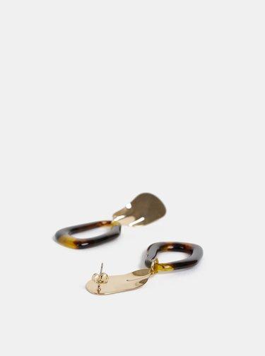 Náušnice ve zlaté a hnědé barvě Pieces Alli