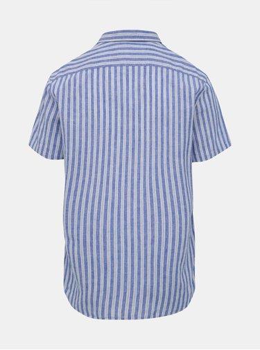 Modrá lněná pruhovaná košile s krátkým rukávem Lindbergh