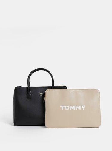 Čierna kabelka s púzdrom na notebook a peňaženkou 3v1 Tommy Hilfiger Charming
