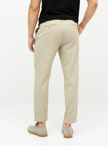 Béžové lněné kalhoty ONLY & SONS Leo