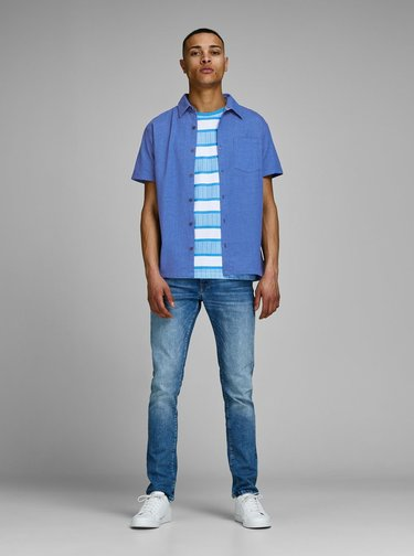 Modrá slim fit košile Jack & Jones Owen