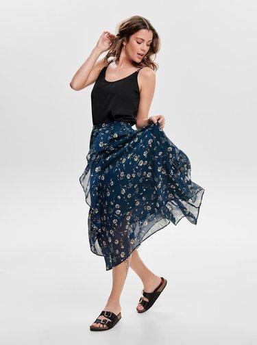 Tmavě modrá květovaná midi sukně s volánem ONLY Sheena