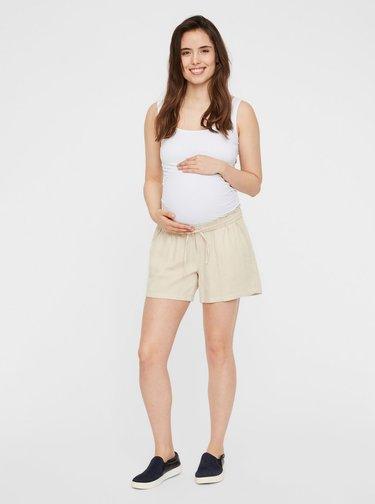 Pantaloni scurti bej din in pentru femei insarcinate Mama.licious