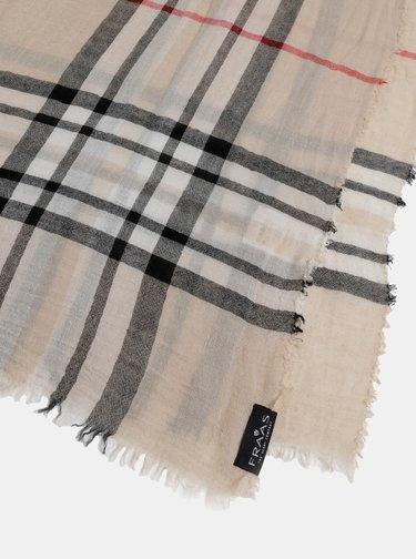 Béžový dámský kostkovaný šátek s příměsí vlny Fraas