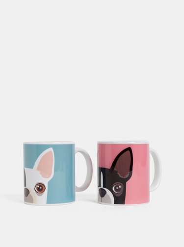Sada dvou hrnků v růžové a modré barvě s motivem psů Butter Kings Hearts Which Frenchie