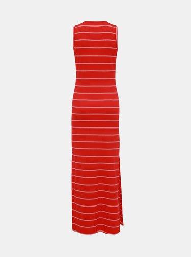 Červené pruhované rebrované basic maxišaty Jacqueline de Yong Nevada