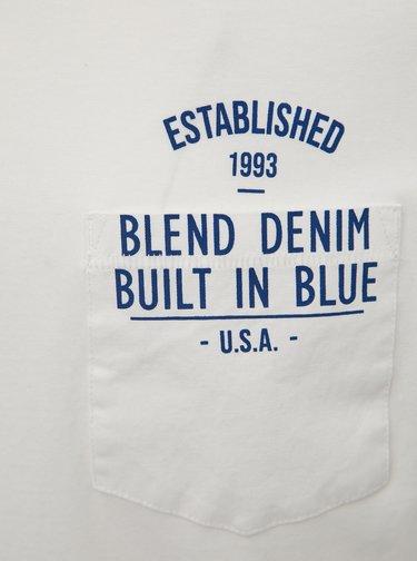 Bílé tričko s náprsní kapsou Blend