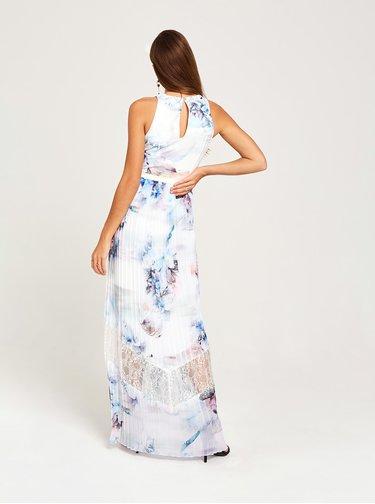 Modro-bílé květované plisované maxišaty Little Mistress