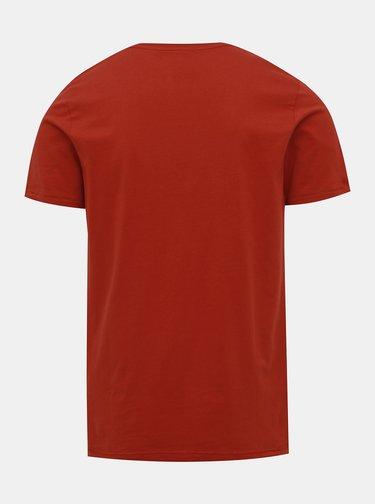 Červené tričko s potiskem Jack & Jones Dept