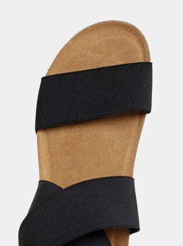 Černé sandály na klínku s elastickými pásy OJJU