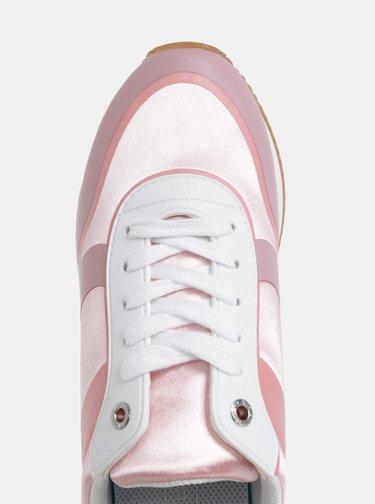 Rúžové dámske tenisky s koženými detailmi Tommy Hilfiger