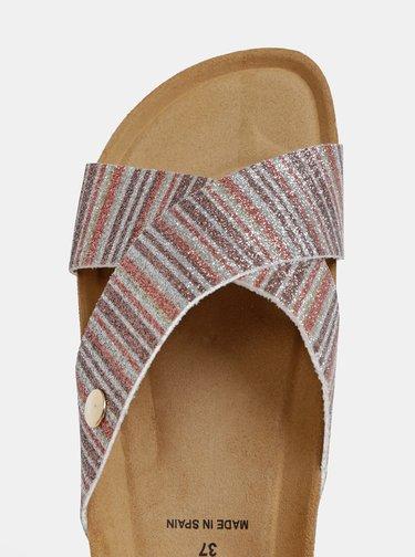 Pruhované třpytivé pantofle ve stříbrno-hnědé barvě OJJU