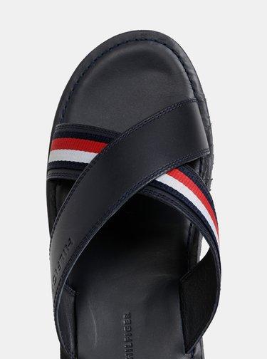 Tmavě modré pánské kožené pantofle Tommy Hilfiger