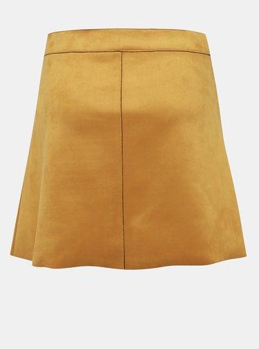 Horčicová sukňa v semišovej úprave ONLY Lea