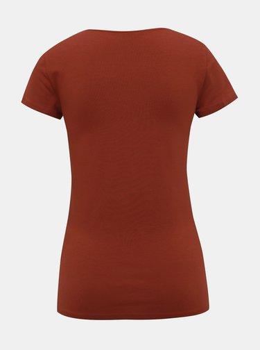 Hnedé tričko s pásikmi v dekolte ONLY Live