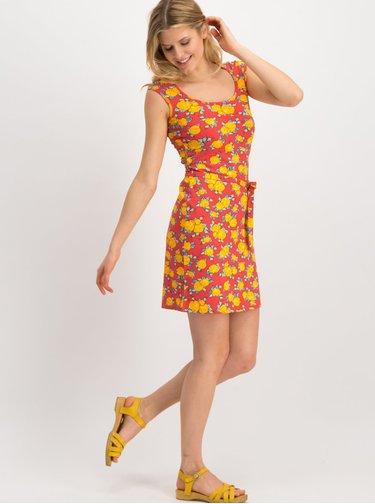 Žlto-červené kvetované šaty Blutsgeschwister