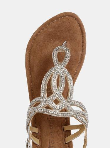 Kožené sandály ve stříbrné barvě Tamaris